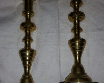 Vintage Marked Peerage England Pearson Page Company Pair of Tall Cast Metal Solid Brass English Candlesticks Birmingham Manchester