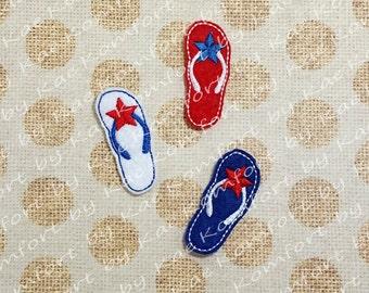 Patriotic Flip Flop Felties- (set of 4) UN-CUT