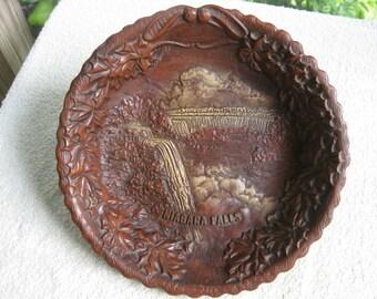 Vintage Souvenir Niagara Falls bowl , fauxwood