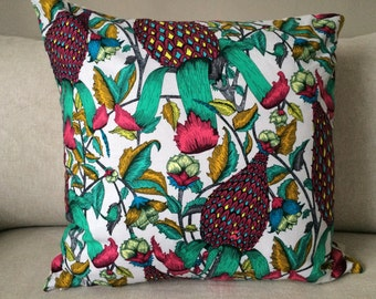 Red Flora & Fauna Pillow Cover