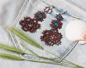 Handmade tatted earrings made of Brown cotton thread and beads