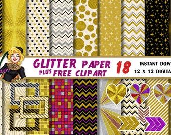 Gold Chevron Glitter Digital paper, Glitter clipart, Mosaic paper, frame, Gold Hearts, Gold stars, Silver, Bronze, Scrapbook, party decor