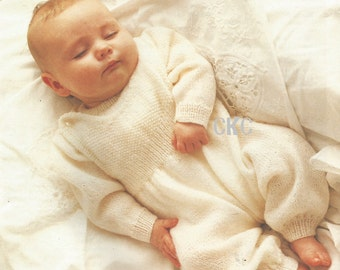 Vintage Baby Sweater And Overalls Dungarees Knitting PDF Pattern