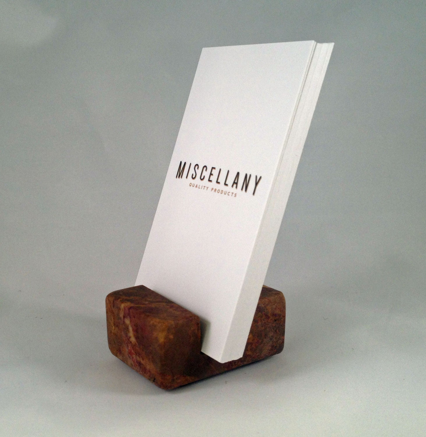 Vertical Business Card Holder Red Marble by Miscellany line