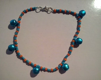 Orange and Blue bell anklet
