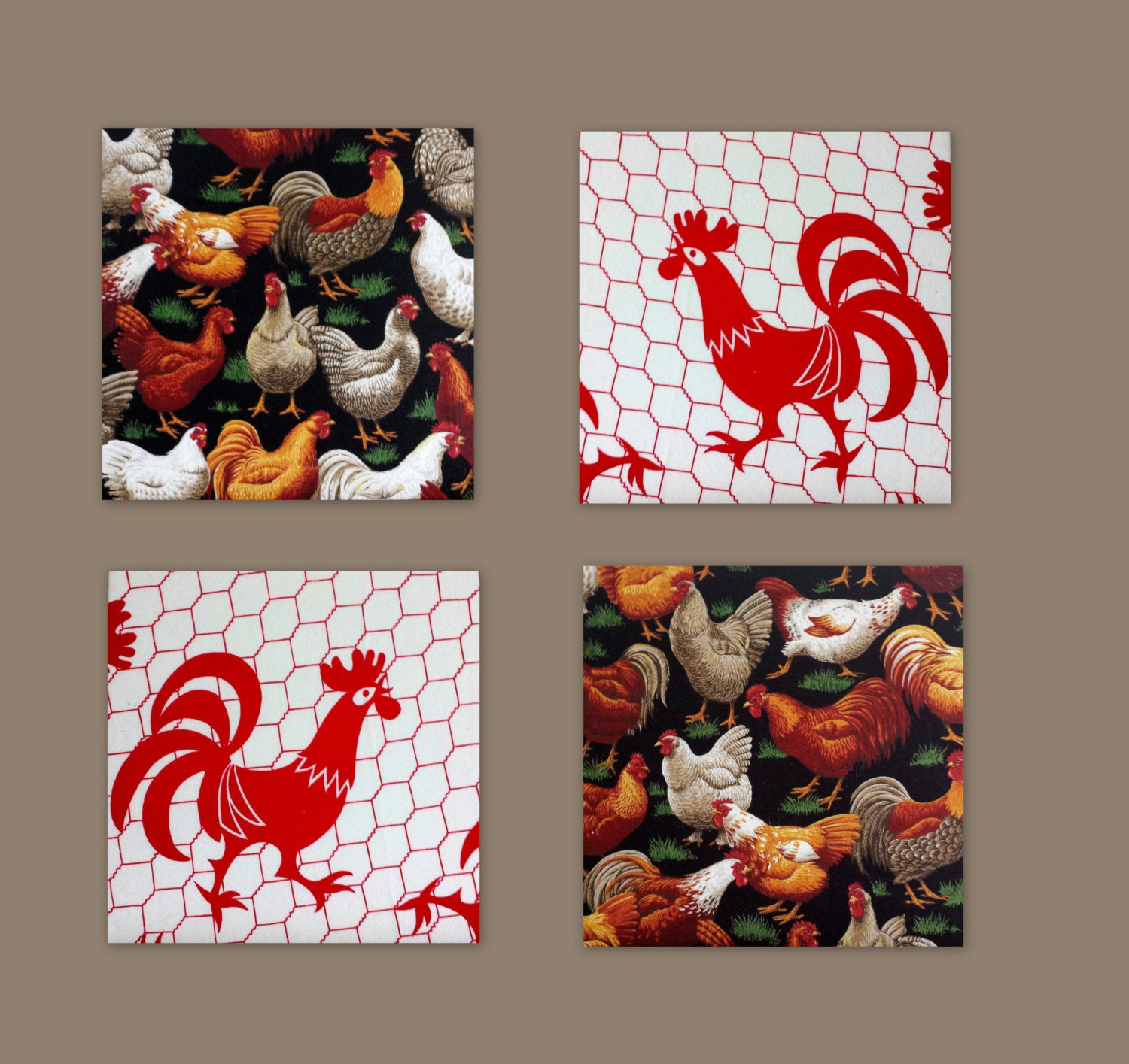 Kitchen wall decor chickens rooster hens fabric by - Rooster wall decor kitchen ...