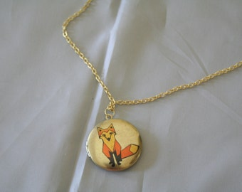 Fox locket necklace-fox jewelry-fox pendant-fox necklace-fox locket