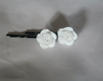 White rose flower bobby pins-bobby pins-flower bobby pins-rose bobby pins