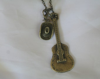 Guitar & cowgirl hat necklace-guitar jewelry-,cowgirl hat jewelry