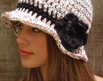 Hat,black tan,white,brimmed,black flower/black trim,crochet,bucket