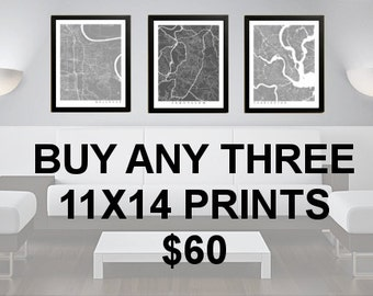 3 Prints for 60 Dollars - 11x14 - Custom City Map Art - Choose Your City - Map Print - Maps - Custom - City Collection