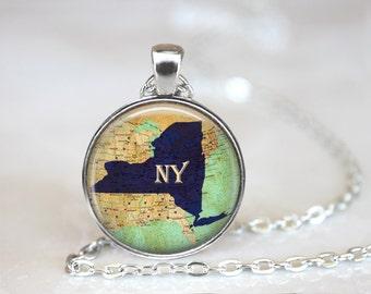New York Map Necklace, New York Necklace, New York Jewelry, New York Gift, Map Necklace