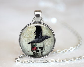 Raven and Skull Necklace, Skull Jewelry, Skull Necklace, Gothic Jewelry, Gothic Necklace, Raven Necklace