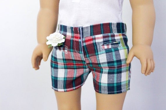 "Red and Navy Plaid Shorts for 18"" Doll"