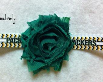 Green Bay Packers Baby Girl Shabby Flower Elastic Headband