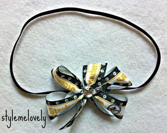 Pittsburgh Steelers Baby Girl Boutique Bow Elastic Headband