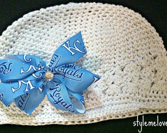 Kansas City Royals Baby Girl Boutique Bow Crocheted Hat