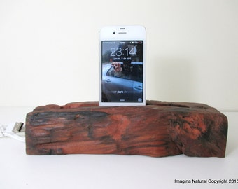 Tsunami Wood iPhone Stand Wooden iPhone Docking Station Rauli Reclaimed Wood iPhone Dock Wooden iPhone Cable holder Iphone 3 4 5 6 also Ipad