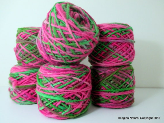 Limited Edition Handspun Hand dyed yarn Bulky Chilean Wool Knitting Multicolour Araucania Chunky Skein Purple Green Pink Fuschia 100g 3.5oz