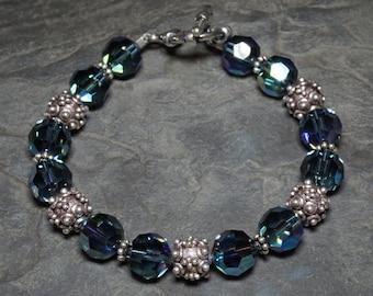 Montana Blue Swarovski Crystal and Sterling Silver Bracelet
