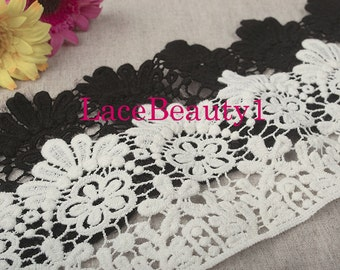 Cotton Lace Trim Vintage Lace trim floral lace trim White/black Lace Trim 10cm wide 1 Yard