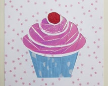 Iris Folded Paper Cupcake Greeting Card