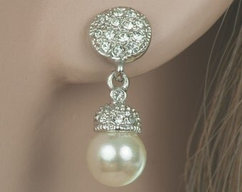 Bridal Earrings, Stud Earrings, Pearl Stud Earrings, CZ Earrings, Wedding Earrings, Pearl CZ Studs, Pearl Diamante Earrings
