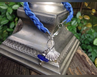 "Braided Leather Clam Shell Bracelet with a ""piece of the beach"" Sea Glass"
