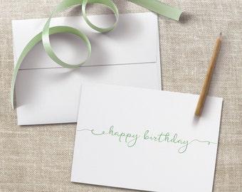 Happy Birthday A7 Greeting Card Set, Greeting Card Box Set, Script Lettering