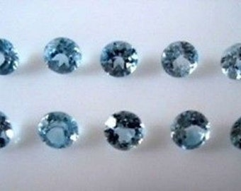 Lot Of 25 Piece Sky Blue Topaz 6X6 MM Round Faceted Cut Loose Gemstone