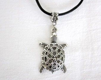 Antique Silver Style Turtle / Tortoise Statement Pendant Necklace