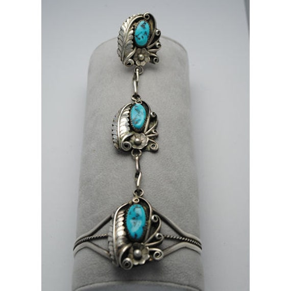 Slave bracelet - vintage and hand made - sterling silver and native american turquoise - sqhash blossom bracelet - native american bracelet