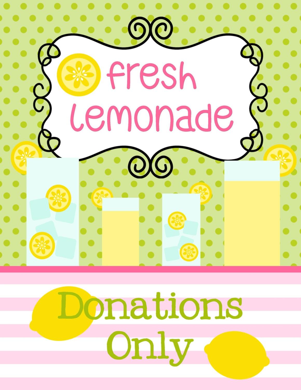 Lemonade Stand Printable Sign SALE Pink Lemonade Stand Lemonade Sign Ideas