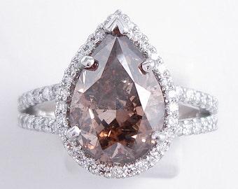 4.66 ctw Pear Shape Diamond Ring Natural Chocolate/SI1 Clarity Enhanced Diamond