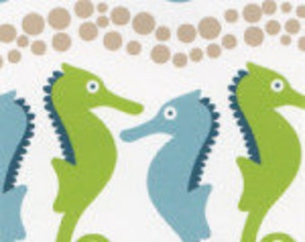 Blue and Green Seahorses, Cotton Fabric