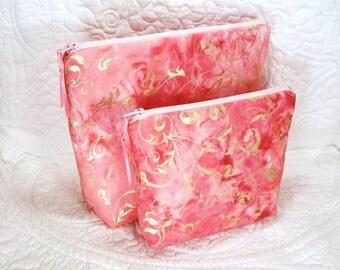 Batik makeup bags, two piece set, one large makeup bag, one small makeup bag, cosmetic storage, makeup organizer, gold metallic print.