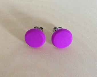 Polymer clay stud earrings - Magenta