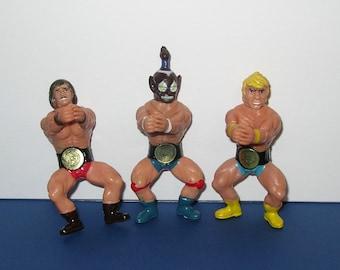 Vintage set of 3 Wrestling Clip On Figures 1980s Sungold