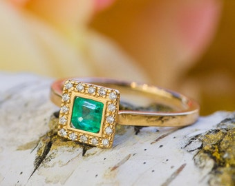 Natural Princess Cut Emerald  and White Diamonds 18K Gold Ring, Emerald Statement Ring , Diamonds Ring, 18K Yellow Gold, Zehava Jewelry