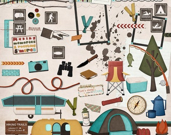"Digital Scrapbook Elements - ""Outdoor Adventures"" digital camping, hiking, and scouting embellishments and clip art for scrapbook layouts"