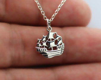 PIRATE SHIP CHARM Necklace - 925 Sterling Silver - Skull Crossbones Nautical New