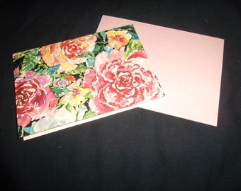Vintage Floral Notecards and matching envelopes, Set of 8.