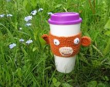 Coffee Cozy Funny Monkey Face, Coffee Sleeve, Crochet Cozy , Java Jacket, Travel Drink Cup Holder, Monkey Face, Animal Cozy