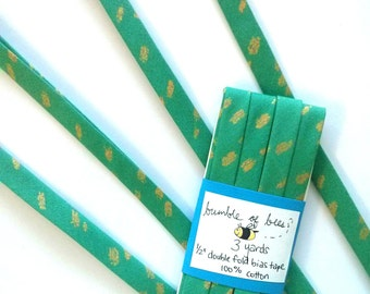 "Metallic Gold on Jade Green Heavy Metal Double Fold Bias Tape - 3 yards, 1/2"" wide"