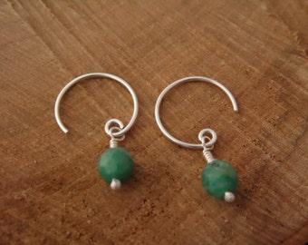 Hoop earrings, Sterlingsilver, green Amazonite, 5% donation