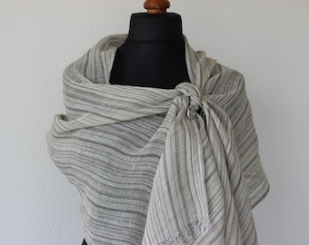 gray linen scarf, for women and men, 100% natural, striped scarf, long scarf