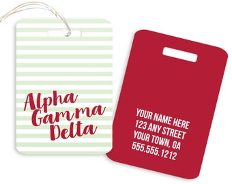 AGD // Alpha Gamma Delta // Striped Sorority Luggage Tag