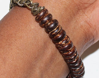 Wooden and Chain Beaded Bracelet