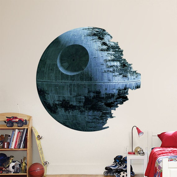Star death artwork wars wall sticker decor decal removable for Death star wall mural