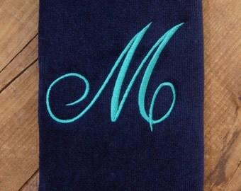 Single Initial Monogram Fingertip Towel - Script Font